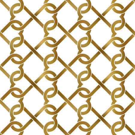 Abstract repeatable pattern background of golden twisted strips. Swatch of gold intertwined infinite love symbols - twisted hearts. Romantic seamless pattern.