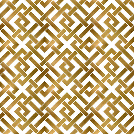 Abstract repeatable pattern background of golden twisted strips. Swatch of gold intertwined square bands. Seamless pattern in modern style.