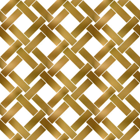 Abstract repeatable pattern background of golden twisted strips. Swatch of gold intertwined straight bands. Seamless pattern in modern style. 矢量图像