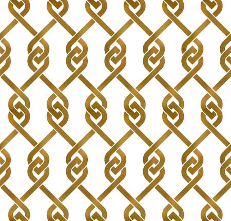 Abstract repeatable pattern background of golden twisted strips. Swatch of gold intertwined bands with loops. Seamless pattern in modern style. 矢量图像