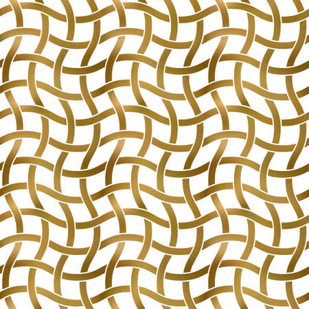 Abstract repeatable pattern background of golden twisted strips. Swatch of gold intertwined winding bands. Seamless pattern in modern style. 免版税图像 - 158698258