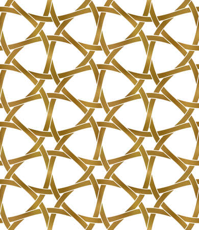 Abstract repeatable pattern background of golden twisted strips. Swatch of gold hexagon pattern lattice. Seamless pattern in modern style. 矢量图像