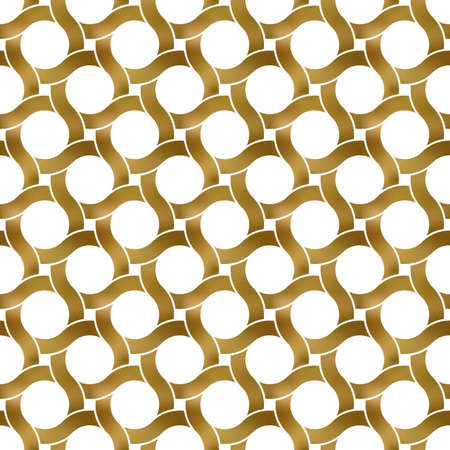 Abstract repeatable pattern background of golden twisted strips. Swatch of gold intertwined wavy bands. Seamless pattern with rings. 矢量图像