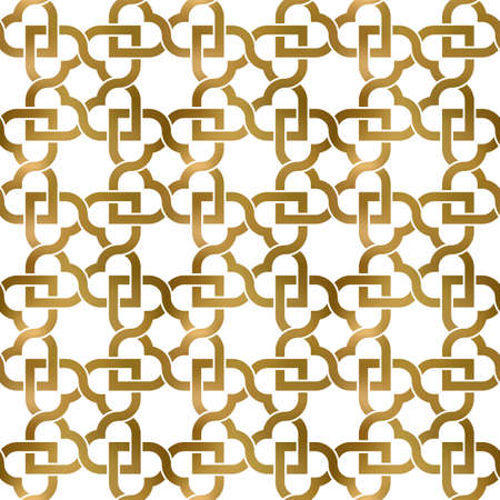 Abstract repeatable pattern background of golden twisted strips. Swatch of gold intertwined wavy bands. Seamless pattern with hearts. 矢量图像
