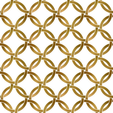 Abstract repeatable pattern background of golden twisted strips. Swatch of gold intertwined rings. Seamless pattern in modern style.