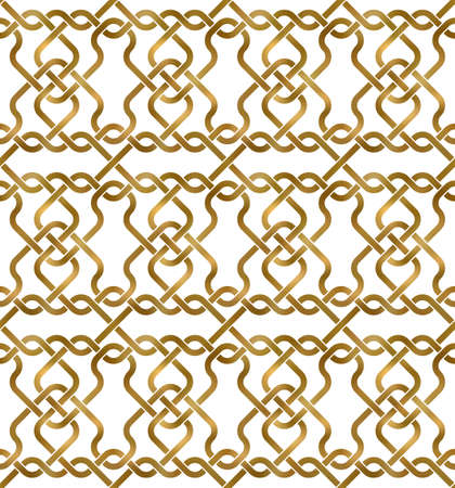 Abstract repeatable pattern background of golden twisted strips. Swatch of gold intertwined wavy bands. Seamless pattern in modern style.