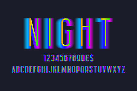 Night alphabet with numbers and currency signs. Gradient layered font.