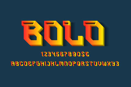 Bold alphabet with numbers and currency signs. 3d decorative display font.