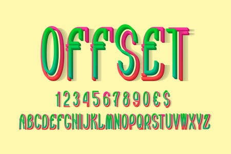 Volumetric offset alphabet with numbers and currency signs. 3d display font. 矢量图像