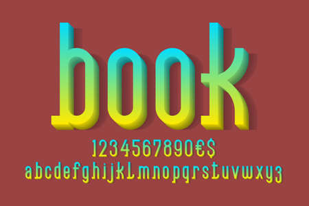 Book volumetric alphabet with numbers and currency signs. 3d display font. 矢量图像