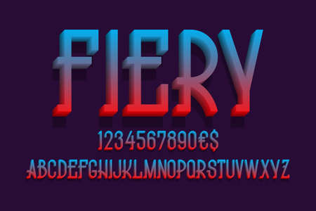 Fiery alphabet with numbers and currency signs. 3d display font.
