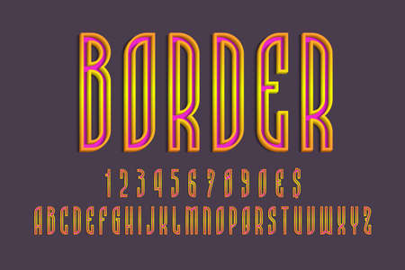 Pink alphabet, numbers and currency signs with orange yellow volumetric borders. 3d colorful display font.