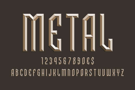 Volumetric metallic alphabet with numbers and currency signs. 3d display font. 矢量图像