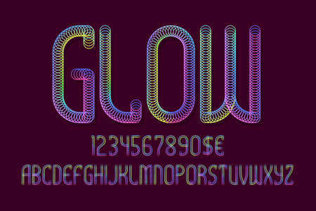 Glowing alphabet with numbers and currency signs. Iridescent glow font.