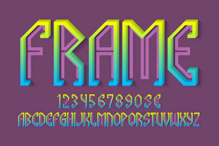 Volumetric frame alphabet with numbers and currency signs. 3d colorful display font. 免版税图像 - 159029043