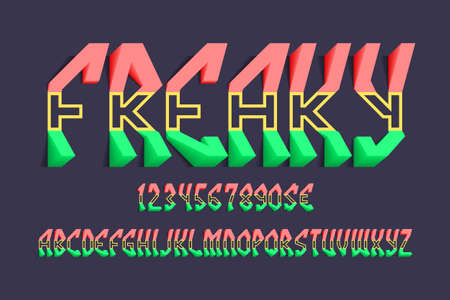 Volumetric freaky alphabet with numbers and currency signs. 3d tricolor display font.