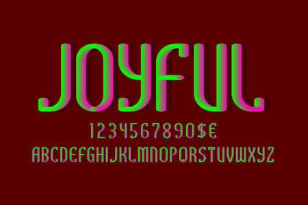 Joyful alphabet with numbers and currency signs. 3d luminescent font.