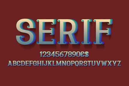 Serif alphabet with numbers and currency signs. 3d retro font.