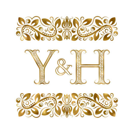 Y and H initials vintage icon. The letters surrounded by ornamental elements. Wedding or business partners monogram in royal style.