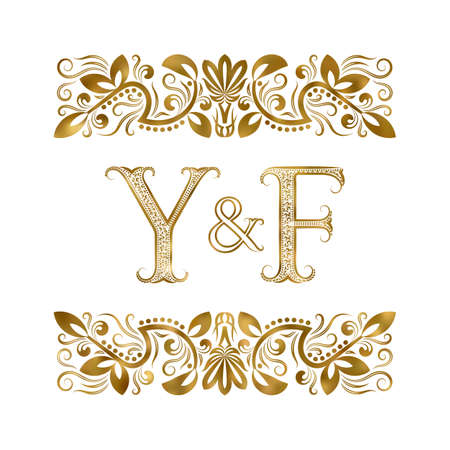 Y and F initials vintage icon. The letters surrounded by ornamental elements. Wedding or business partners monogram in royal style.