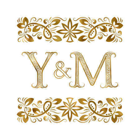 Y and M initials vintage icon. The letters surrounded by ornamental elements. Wedding or business partners monogram in royal style.