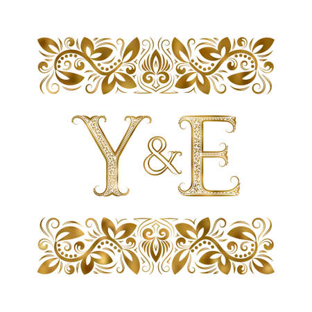Y and E initials vintage icon. The letters surrounded by ornamental elements. Wedding or business partners monogram in royal style. 矢量图像