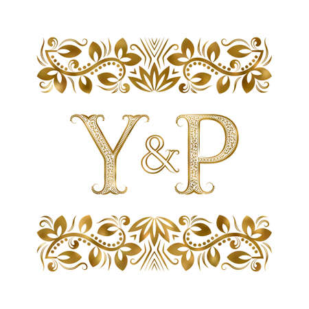 Y and P initials vintage icon. The letters surrounded by ornamental elements. Wedding or business partners monogram in royal style.