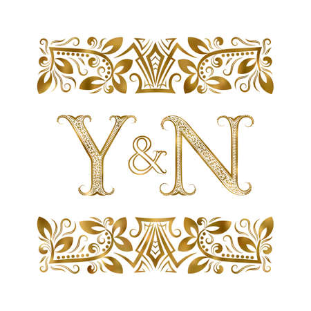 Y and N initials vintage icon. The letters surrounded by ornamental elements. Wedding or business partners monogram in royal style.