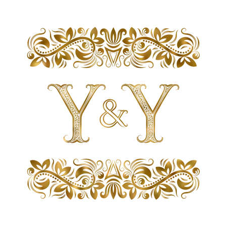 Y and Y initials vintage icon. The letters surrounded by ornamental elements. Wedding or business partners monogram in royal style.