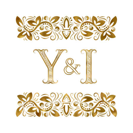 Y and I initials vintage icon. The letters surrounded by ornamental elements. Wedding or business partners monogram in royal style.