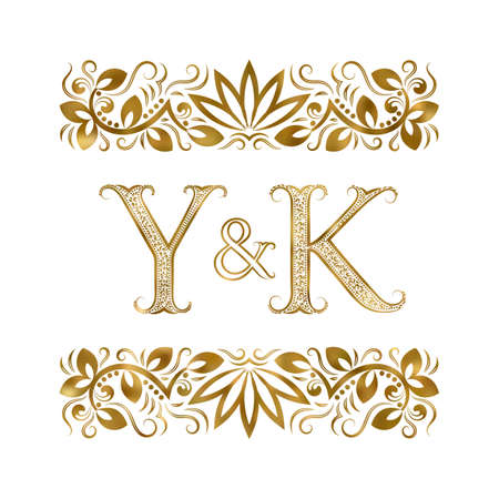 Y and K initials vintage icon. The letters surrounded by ornamental elements. Wedding or business partners monogram in royal style.