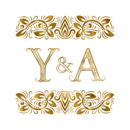 Y and A initials vintage icon. The letters surrounded by ornamental elements. Wedding or business partners monogram in royal style. 矢量图像