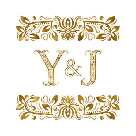 Y and J initials vintage icon. The letters surrounded by ornamental elements. Wedding or business partners monogram in royal style.