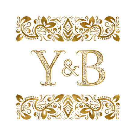Y and B initials vintage icon. The letters surrounded by ornamental elements. Wedding or business partners monogram in royal style. 矢量图像