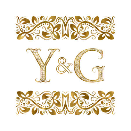 Y and G initials vintage icon. The letters surrounded by ornamental elements. Wedding or business partners monogram in royal style.