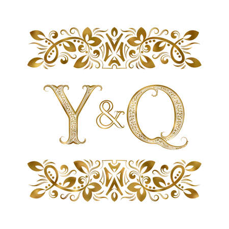 Y and Q initials vintage icon. The letters surrounded by ornamental elements. Wedding or business partners monogram in royal style. 矢量图像