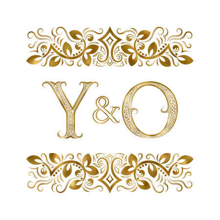 Y and O initials vintage icon. The letters surrounded by ornamental elements. Wedding or business partners monogram in royal style.