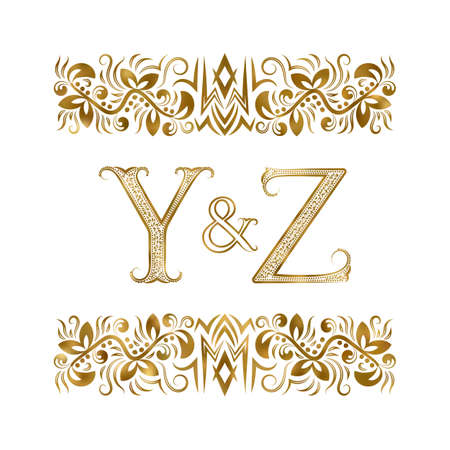 Y and Z initials vintage icon. The letters surrounded by ornamental elements. Wedding or business partners monogram in royal style.
