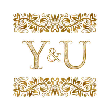 Y and U initials vintage icon. The letters surrounded by ornamental elements. Wedding or business partners monogram in royal style.