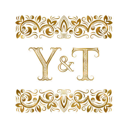Y and T initials vintage icon. The letters surrounded by ornamental elements. Wedding or business partners monogram in royal style. 矢量图像