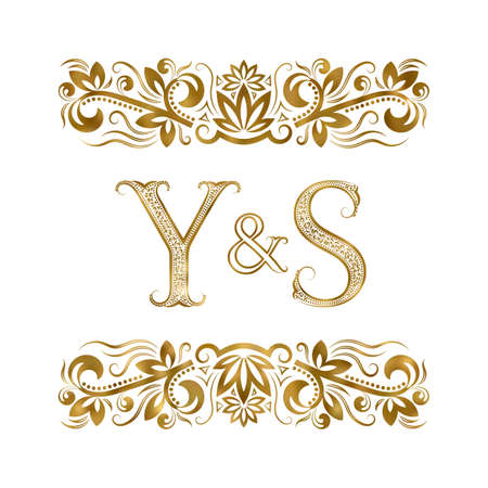 Y and S initials vintage icon. The letters surrounded by ornamental elements. Wedding or business partners monogram in royal style.