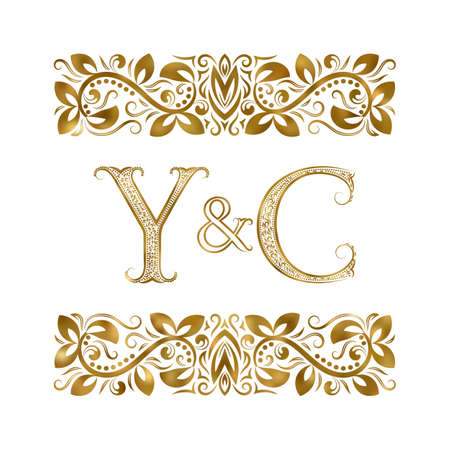 Y and C initials vintage icon. The letters surrounded by ornamental elements. Wedding or business partners monogram in royal style.
