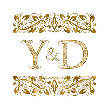 Y and D initials vintage icon. The letters surrounded by ornamental elements. Wedding or business partners monogram in royal style.