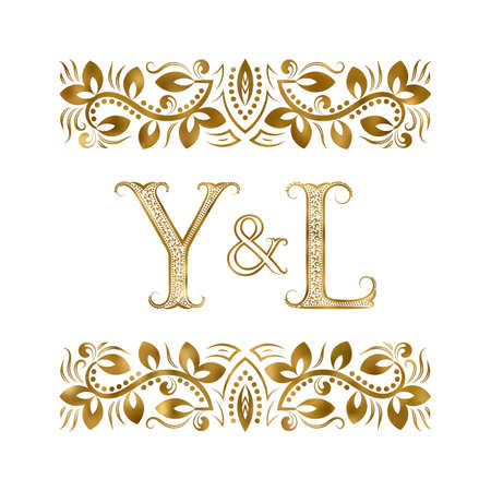 Y and L initials vintage icon. The letters surrounded by ornamental elements. Wedding or business partners monogram in royal style.