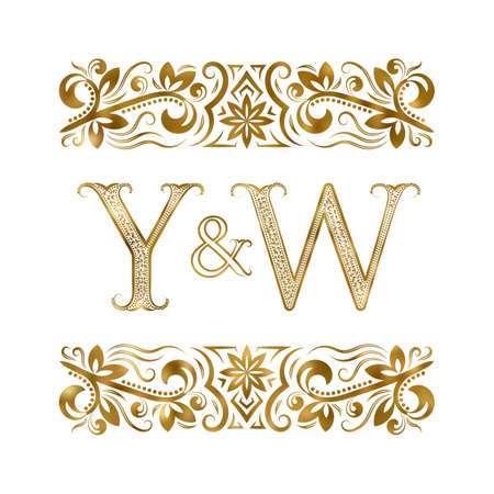 Y and W initials vintage icon. The letters surrounded by ornamental elements. Wedding or business partners monogram in royal style.