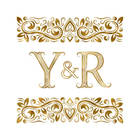Y and R initials vintage icon. The letters surrounded by ornamental elements. Wedding or business partners monogram in royal style.
