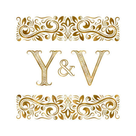 Y and V initials vintage icon. The letters surrounded by ornamental elements. Wedding or business partners monogram in royal style. 矢量图像