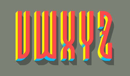 V, W, X, Y, Z red blue yellow 3d letters with shadow. Volumetric display font. 矢量图像