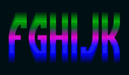 F, G, H, I, J, K iridescent vibrant letters. Colorful display font.