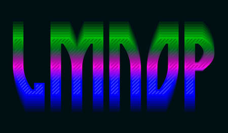 L, M, N, O, P iridescent vibrant letters. Colorful display font.